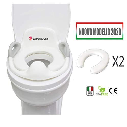 Riduttore Water Bambini - WithYouLabTM - Vasino Ergonomico Con Schienale, Paraspruzzi, Braccioli - Base Antiscivolo Regolabile - Toilet Trainer - (REG