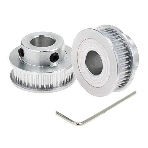 LICTOP Zahnriemenscheibe, Aluminiumlegierung, GT2, 40 Zähne, 10 mm, Bohrung, Flansch, Synchronrad, mit M2 Sechskantschlüssel, 2 Stück