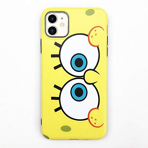 kikoo Cute Funny Spongebob Printing Candy Color Ultra Soft Phone Case for iPhone 11 Pro Max(for iPhone11 Yellow1)