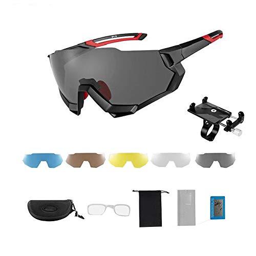 ZHLZH Radsportbrille/Radsportbrille Damen, Outdoor Sport Eyeswear Herren Damen MTB Rennrad Fahrrad Sonnenbrille Photochrom Radfahren Geben Sie einen soliden Handyhalter,Red
