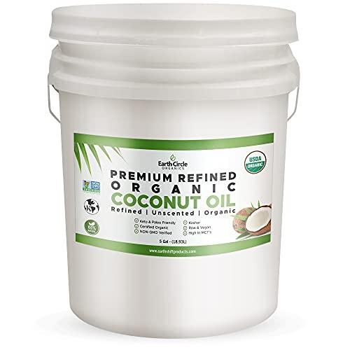 Earth Circle Organics Premium Ultra Pure REFINED Organic Coconut Oil - Steam Refined, Keto & Paleo Friendly - Pure Coconut Oil For Skin & Hair Care, Cooking (5 Gallon)