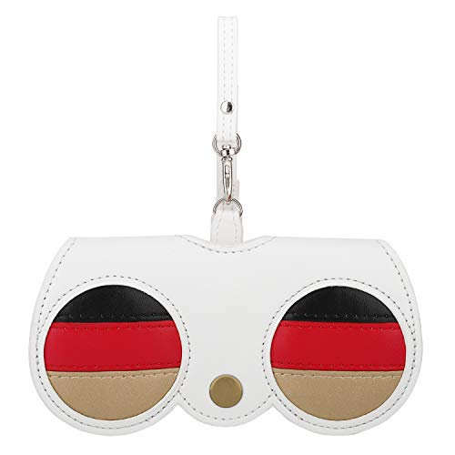 MoKo Süß Brillenetui, PU Leder Leicht Tragbar Sonnenbrillen Schutzhüllen Brillen Zubehör Dekoration Anhänger Modisch Brillenbox für Damen Mädchen - Weiß