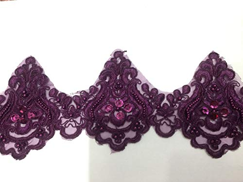 Beaded Lace Trim Sequinned Vintage Decorative Wedding/Bridal DIY Craft Sewing Coloured Fabric TR3 (Plum 4.5 Yards)
