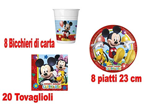 Little Flight Topolino Mickey Mouse Coordinato ADDOBBI TAVOLA Festa A Tema per 8 Bambini Topolino Kit(8 Piatti da 23 CM ,8 Bicchieri,20 TOVAGLIOLI)
