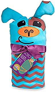 SOZO Newborn Baby Boys Puppy Cotton Swaddle Blanket and Matching Hat Set, Blue/Brown, 0-6 Months