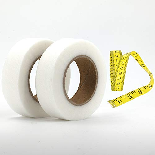 Wosilan 2 Rollen 50 m x 2.5 cm Saumband zum aufbügeln Bügelband Saumband für Textilien Hosen Gardinen Vorhänge zum kürzen/nähen