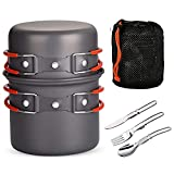 WYYUE 6 Pieces Camping Cookware Pots, Non Stick Pot Pan and Knife Fork Spoon, High Temperature Resistance, Comfortable Hand Feeling, Cooking Kit for Camping, Hiking, Picnic