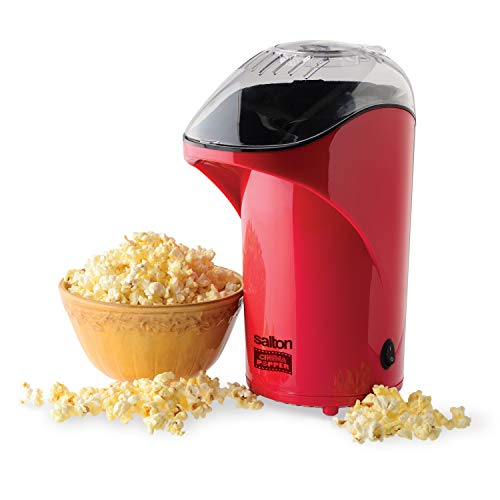 Salton Cinema Hot Air Popper Popcorn Maker Oilfree Low Calorie Popcorn with Bonus Cup to Measure Kernels and Melt Butter, Convenient Countertop Design, Durable & Easy to Use, Red (CP1428R)