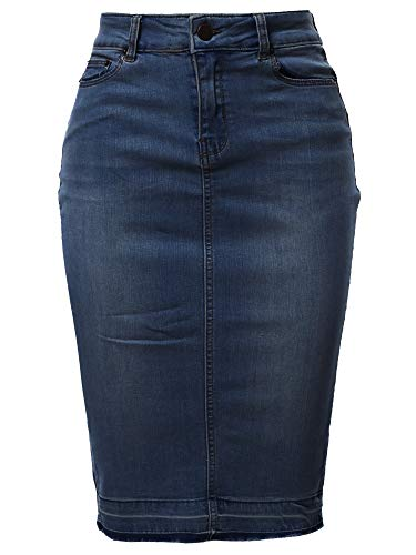A2Y Slim Fit Rayon Knee Length Back Slit Denim Jean Pencil Skirt Dark Navy L