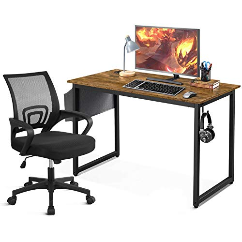 YAHEETECH Home Office Desk & Chair Set 47' Industrial Computer Desk with Storage Bag, Ergonomic Mesh Office Chair Ergonomic Desk Chair Mid-Back Big Computer Chair, Rustic Brown & Black