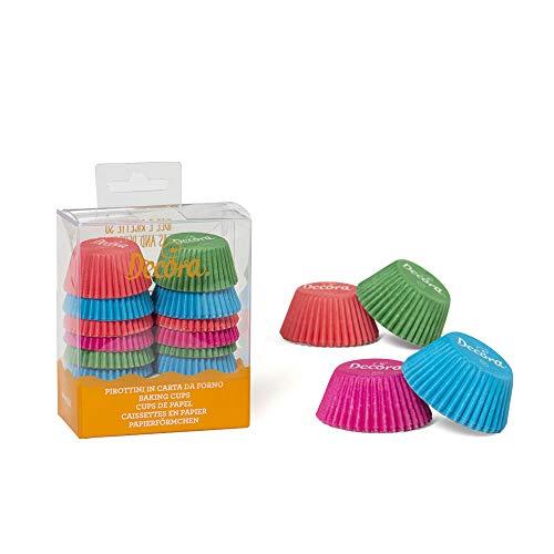 Decora 0339916 Paquet 200 CAISSETTES Mini Muffin COLORÉES 32 X 22 MM, Paper, Rose, 30 x 3,2 x 2,2 cm