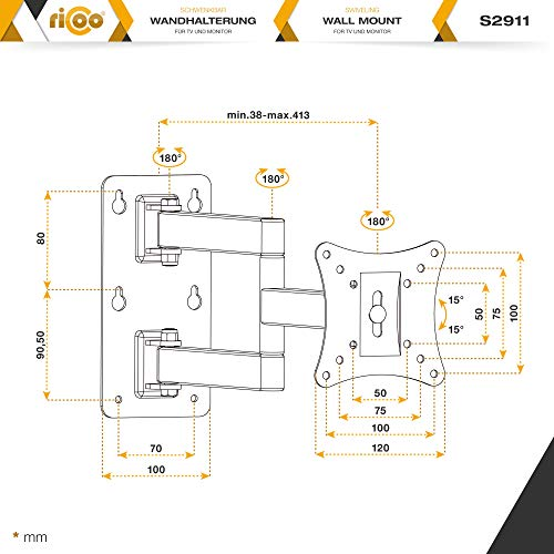 RICOO Monitor Wand-Halterung Schwenkbar Neigbar S2911 Monitor-Halter Wandhalterung-TV LCD LED Wandhalter fuer Flach-Bildschirm PC-Monitor 43-49-54-61-68cm / 17′ 19′ 22′ 24′ 27′ Zoll | VESA max. 100 x 100 universell | Wandabstand nur 68 mm | - 7