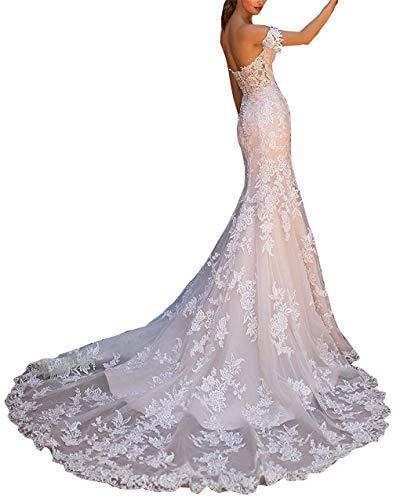 CGown Sweetheart Ausschnitt Schulterfrei Brautkleider für Braut mit Zug, rückenfrei Applique Spitze Brautkleid Ballkleid Gr. Large, elfenbeinfarben