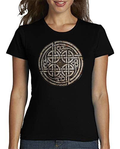 latostadora - Camiseta Nudo Celta - Amor Eterno para Mujer Negro XL