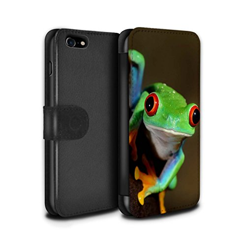 Hülle Für Apple iPhone 8 Wilde Tiere Frosch Design PU Leder Tasche Brieftasche Schutz Handyhülle Flip Hülle
