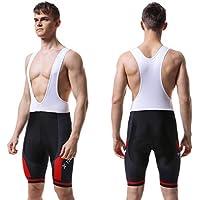 X-TIGER Hombres de Bicicleta con 5D Gel Acolchado MTB Ciclismo Tirantes Culotte Pantalones Cortos Culotes (XL=L(EU), Rojo Culotte Pantalones)