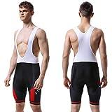 X-TIGER Hombres de Bicicleta con 5D Gel Acolchado MTB Ciclismo Tirantes Culotte Pantalones Cortos Culotes (XXL=XL(EU), Rojo Culotte Pantalones)