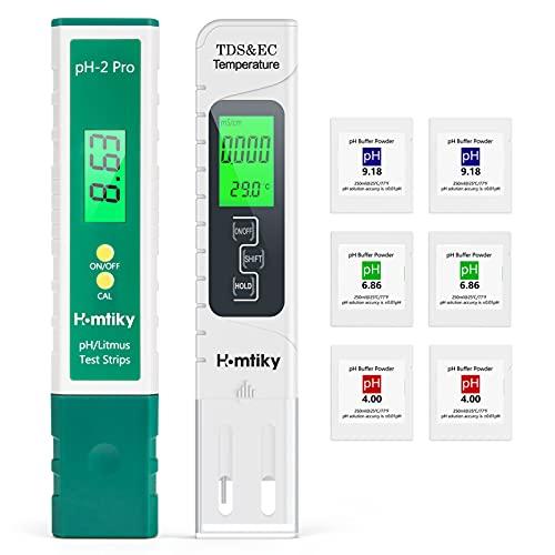 Homtiky Medidor pH, Medidor TDS/EC/Temperatura, Medidor de pH Para Piscinas de Pantalla LED, Medición Precisa y Rápida para Piscinas/Agua Potable/Acuario/Laboratorio
