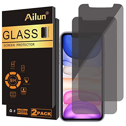 Ailun Privacy Screen Protector Compatible for iPhone 11/iPhone XR 6.1Inch 2 Pack Japanese Glass Anti Spy Case Friendly Tempered Glass