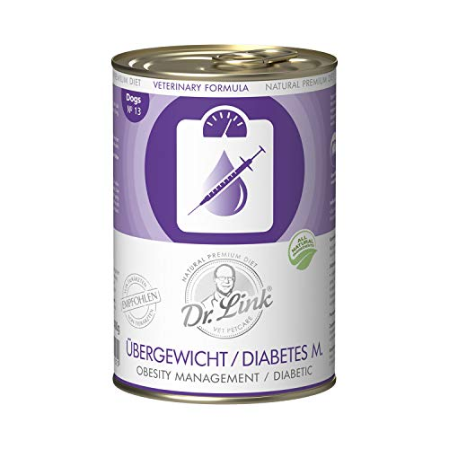 Dr. Link Spezial-DIÄT Übergewicht/Diabetes mellitus I Obesity Management/Diabetic |6 x 400 g | Nassfutter für Hunde
