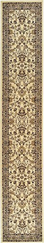 Unique Loom Kashan Collection Traditional Floral Overall Pattern with Border Ivory Runner Rug (3' 0 x 16' 5) Alaska