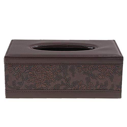 WWFCI Zakdoekbox, rechthoekig, veren, organizer voor op het bureau, voor het opbergen van handdoeken, Bruin