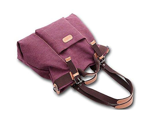 Women's Casual Canvas Top - HandBag / Shoulder Bag - Purplish Red