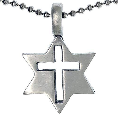 Ohdeal4U Stellated Star of David - Collar con Colgante de Estrella de David con Sello de Salomón y Amuleto de Peltre