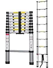 Todeco - Escalera Telescópica, Escalera Plegable - Carga máxima: 150 kg - Número de peldaños: 9-2,6 Metro(s), Brecha extra, Bolsa de transporte GRATIS, EN 131-6