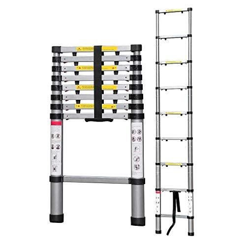 Todeco - Escalera Telescópica, Escalera Plegable - Carga máxima: 150 kg - Número de peldaños: 9-2,6 Metro(s), EN 131-6, Brecha extra, Bolsa de transporte GRATIS