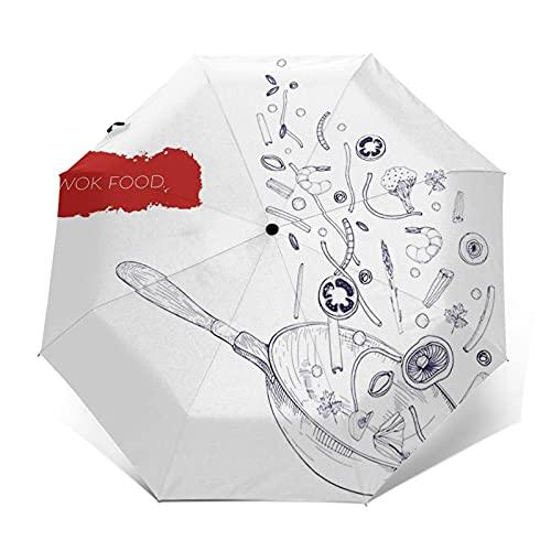 Regenschirm Taschenschirm Kompakter Falt-Regenschirm, Winddichter, Auf-Zu-Automatik, Verstärktes Dach, Ergonomischer Griff, Schirm-Tasche, Realistische Wok-Pfanne Gemüse-Pilze