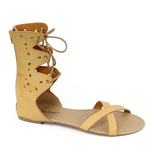 Chatties Women's Lace Gladiator Zipper Sandal (5-6 B(M) US, Tan Lace)