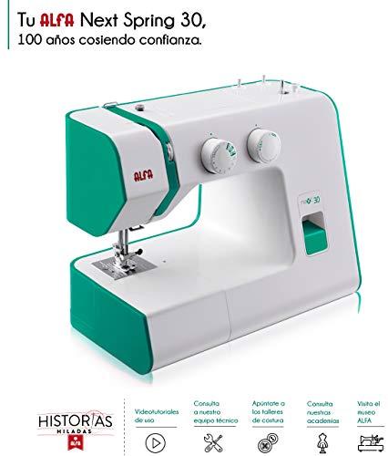 Alfa Hogar Maquina De Coser Next 30 Spring Zig-Zag.Domestica, Verde, 30 X 19 X 37 Cm