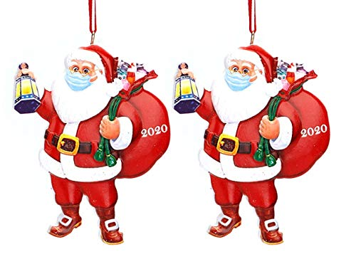 Christmas Santa Claus Ornaments 2020 with Mask and Toilet Paper Quarantine Christmas Personalized Decoration Tree Pendant, Tradition Home Decor for Family Bring Good Luck