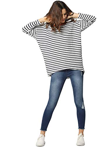 Only onlELCOS 4/5 AOP Top JRS Noos suéter, Multicolor (Cloud Dancer Stripes: Stripes), 36 (Talla del Fabricante: X-Small) para Mujer