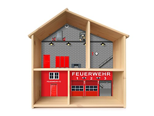 Feuerwehr Aufkleber | PHF03 | passend für das Puppenhaus FLISAT von IKEA (Puppenhaus nicht inklusive) | STIKKIPIX