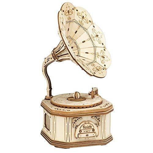 Houten 3D-puzzel Gramophone 3D-speelgoed