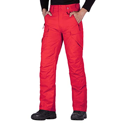 FREE SOLDIER Men's Waterproof Snow Insulated Pants Winter Skiing Snowboarding Pants with Zipper Pockets (Red Medium(32-34)/32L)