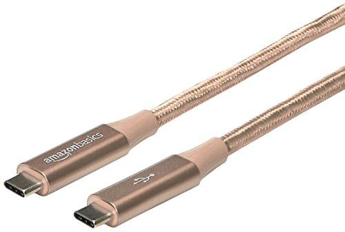 Amazon Basics - Cavo da USB C a USB di tipo C 3.1 gen 1, in nylon a doppio intreccio | 1,8 m, Oro