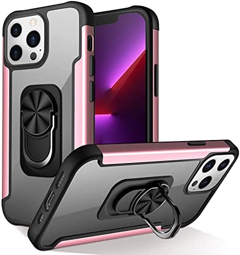 Photo of FYY Designed for iPhone 13 Pro 5G Case, [Kickstand Ring Holder] Clear Slim Thin Phone Case Protective Shockproof Cover Support Magnetic Car Mount for iPhone 13 Pro 5G 6.1″ Rose Gold