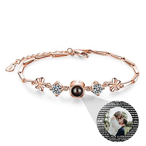 Pulsera De Plata 925 I Love You 100 Idiomas Con Foto Brazalete Con Imagen Personalizada Para Mujer Compromiso De Cumpleaños Collar Del Día De La Madre Pulsera (Rose gold10-6.9+1.57)