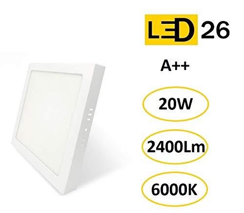 Plafón de Techo LED 20W 2400lm Blanco Frío 6000k Cuadrado Superficie Panel LED Iluminacion Para Sala de Estar,Comedor,Dormitorio,Oficina,Tienda Comecial LED26 [Clase de eficiencia energética A++]