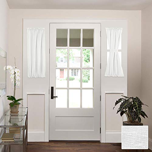 HVERSAILTEX Linen French Door Curtains Privacy Light Reducing Door Curtain with Tieback | Rod Pocket Curtain 2 Panels for Glass Door Feature Open Weave Textured Linen  25quotx40quot  White