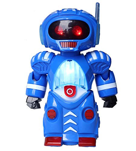 Toyshine Blue Robot for Kids, Colorful Lights and Music with Bump and Go Function
