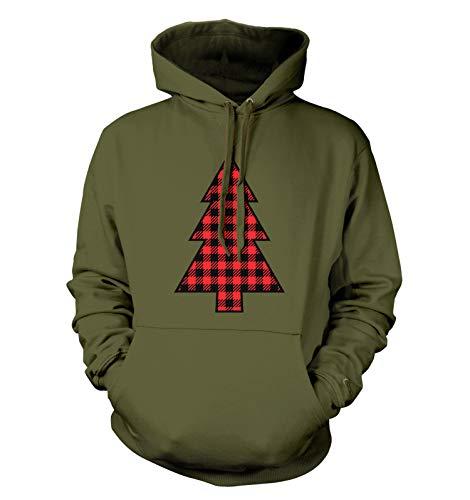 Plaid Pattern Christmas Tree - Xmas Lights Unisex Hoodie Sweatshirt (Military Green, Large)