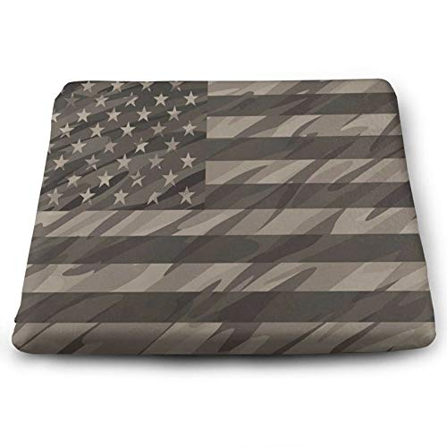 Patriotic Camo USA Flag Chair Seat Cushions Pads Memory Foam Office Dining Kitchen Soft Chair Cushion 1Piece for Pressure Relief, Wheelchairs, Patio, Cafe, Garden, Indoor, Non Slip