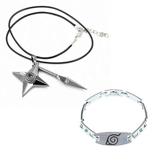 cluis Naruto Anime Halskette Naruto Leaf Village Symbol Logo Anhänger Halskette mit Naruto Armband als Geschenk für Anime Fans(Style 02)