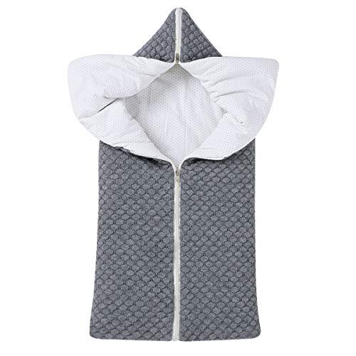 Soapow Saco de dormir para bebé multifunción para recién nacido, manta para cochecito de bebé de 0 a 12 meses, color gris