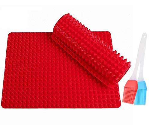 Ohequbao Non-Stick Silicone Baking, Pyramid Healthy Cooking Oven Mat Fat,Red-2 Pack