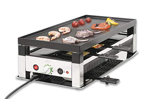 Solis Grill 5 in 1, Raclette/Tischgrill/Wok/Crêpes/Pizza, 8 Personen, Edelstahl, Table Grill 5 in 1 (Typ 791)